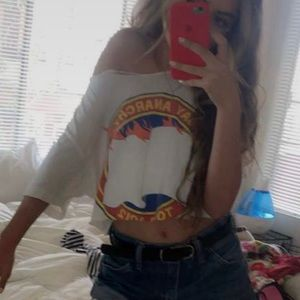 AMERICAN APPAREL Say Anything Cropped Distressed T